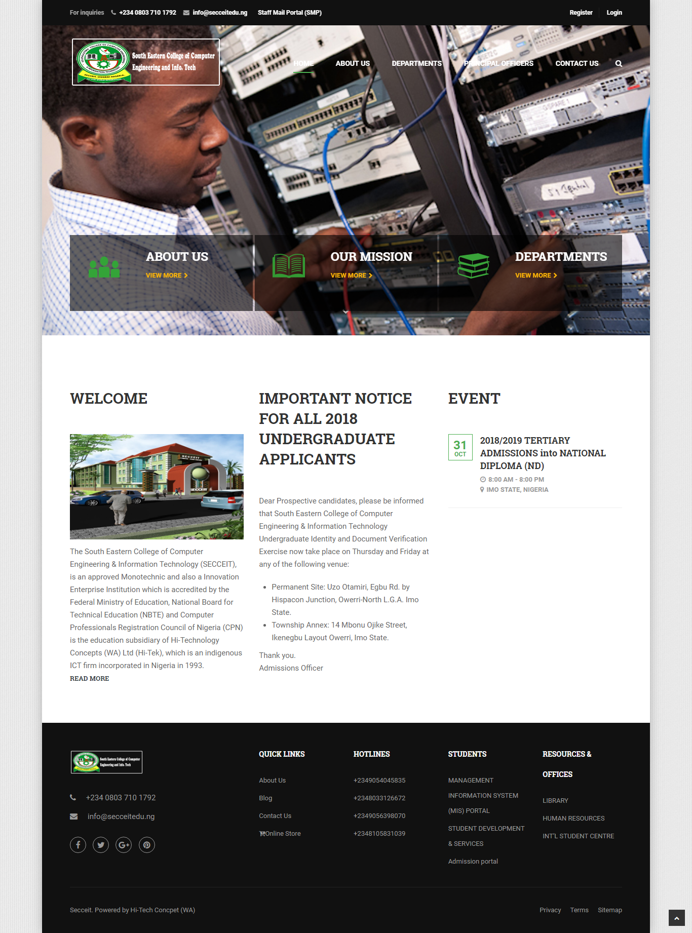secceit- Website Design for a Innovation Enterprise Institution